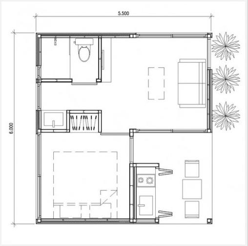 Geprefabriceerde goedkope woning plattegrond