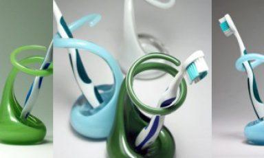 Handgemaakte glazen tandenborstelhouder