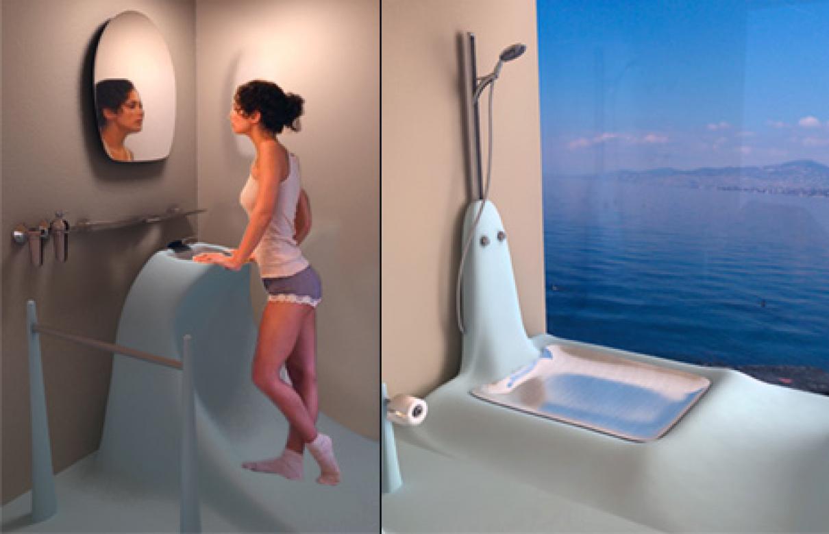 Wavflow zonnige badkamer geïnspireerd door golven
