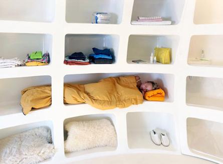 Gastenhuis ei vormig slaapkamer
