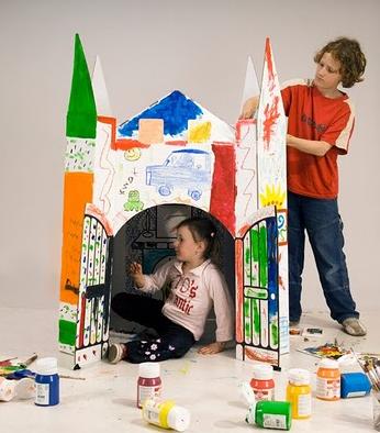 Kartonnen kasteel zelf kleuren kinderkamer Villa Carton