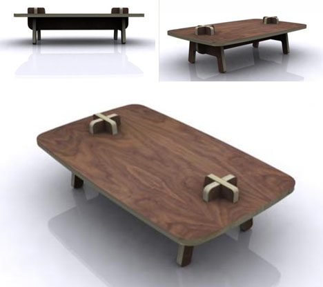 Multifunctioneel multiplex tafel van ontwerper Paul Bellila