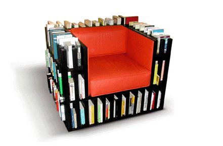 Stoel met boeken boekenkast fauteuil Bibliochaise Nobody & Co design