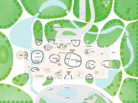 Taichung Opera gebouw tekening met tuinen