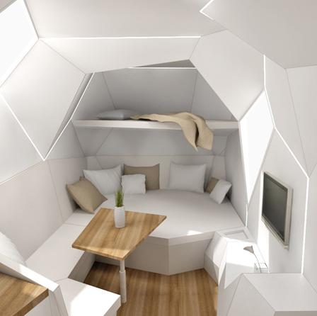 Caravan Mehrzeller woonkamer slaapkamer