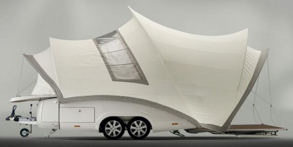 Tenthotel vouwwagen transformeert naar luxe tent