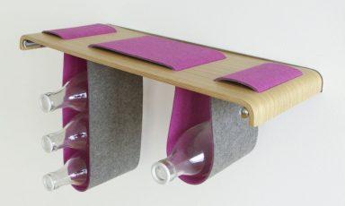Hippe zwevende boekenplank met wollen vilt