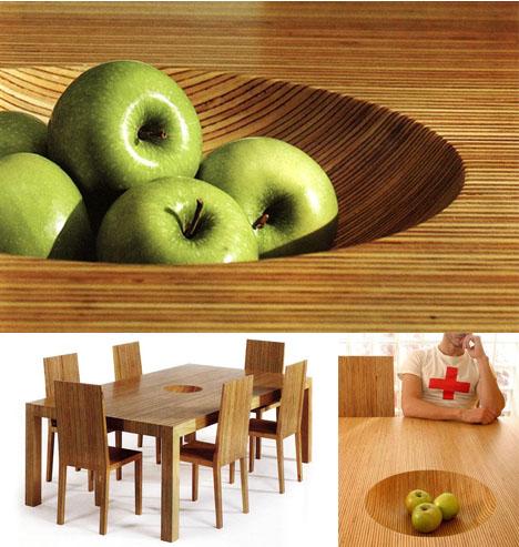 geintegreerde fruitschaal tafel