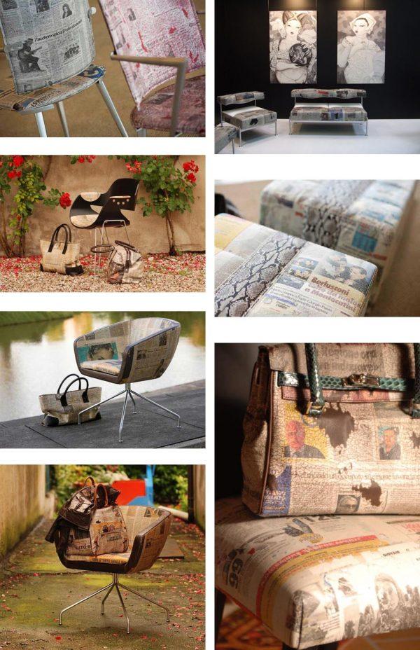 luxe krantenpapierstoel Sitia door Silvana Morini