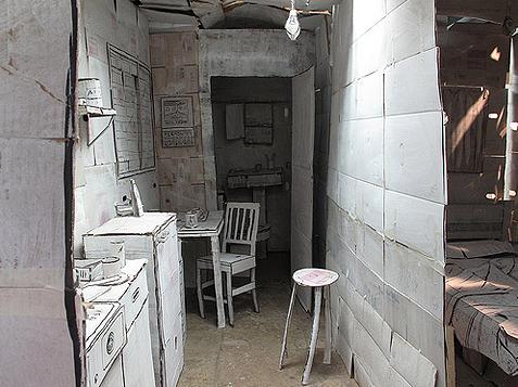 Appartement van papier Don Lucho keuken hal slaapkamer muren