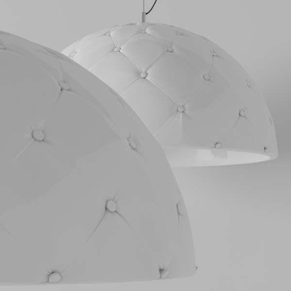"""Gestoffeerde chesterfield hanglamp """"Clamp"""" van DZstudio."""