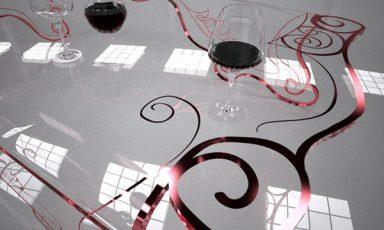 Barokke beschilderde glazen koffietafel