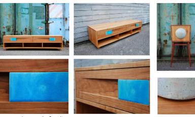 Stoere stoelen en keramische meubels