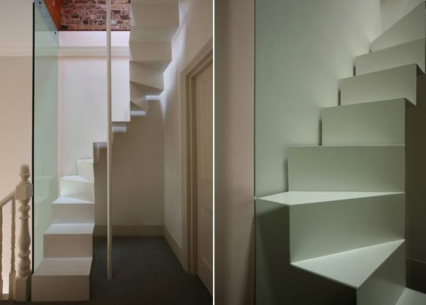 Lichte smalle zoldertrap in londen gimmii shop magazine voor dutch design - Hal ingang design huis ...