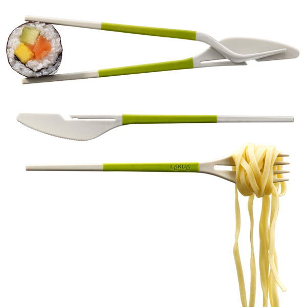 Vork en mes en chopsticks in één