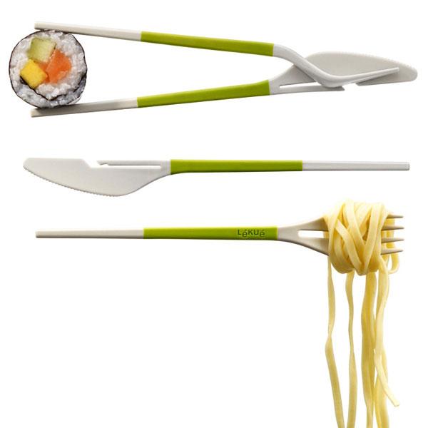 Vork en mes en chopsticks in één