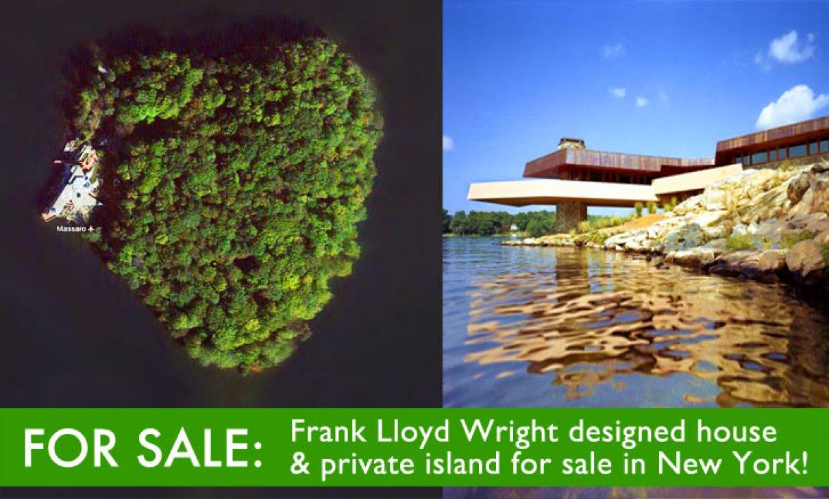 Hartvormig eiland & huis van Frank Lloyd Wright te koop