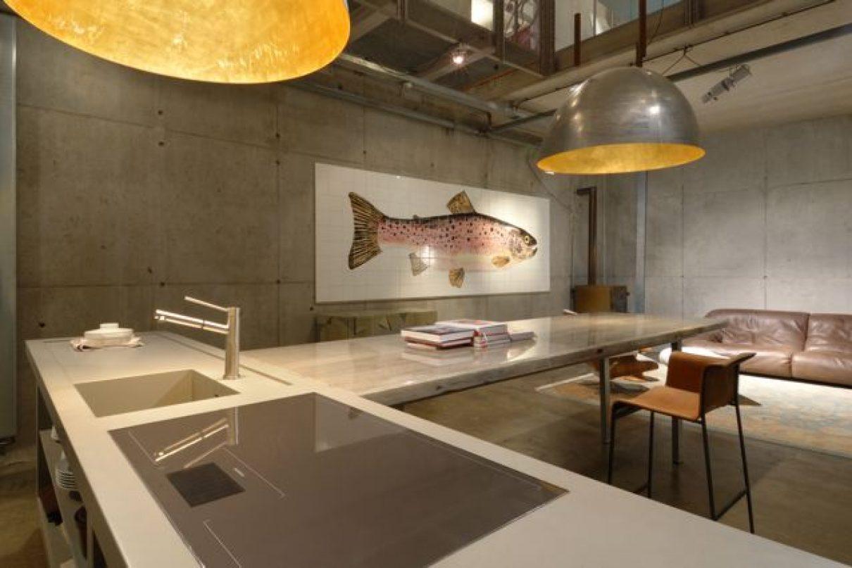 Boter of tegels en een keuken bij de vis