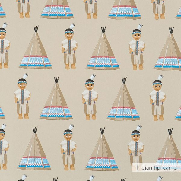 Behang Indian tipi in camel kleur van Studio Ditte