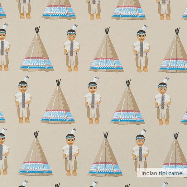 Behang Indian tipi in camel kleur van Studio Ditte