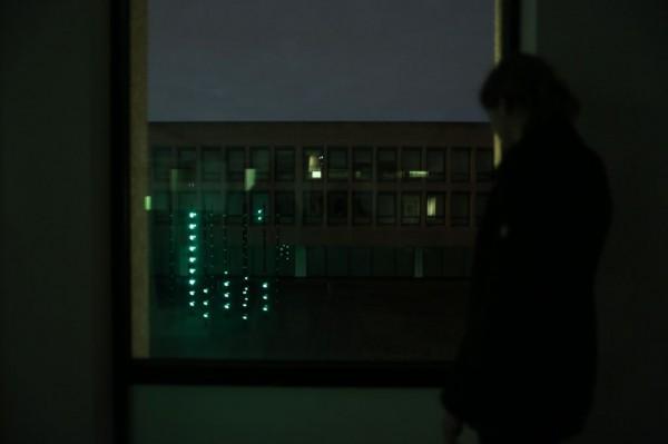 Boo verlichting van Daan Roosegaarde op het plein van de Hotelschool in Amsterdam