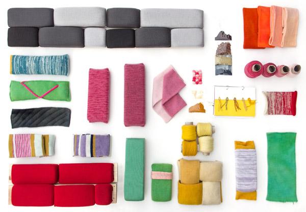 Proeven van stoffering van Windworks meubels van Merel Karhof