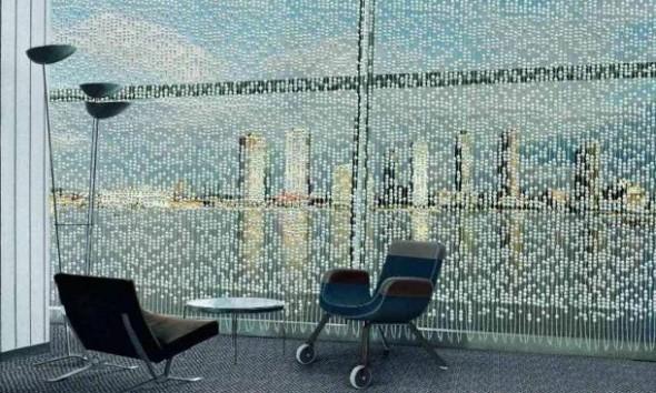 Gordijn van porselein van Hella Jongerius voor de UN lounge