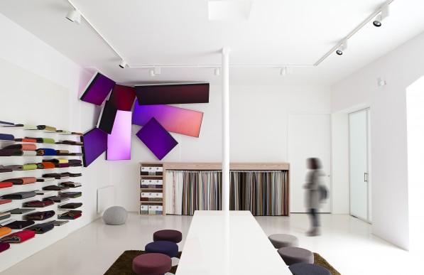 Verlichte stoffen geluidsdempende panelen LuminousTextile van Kvadrat en Philips