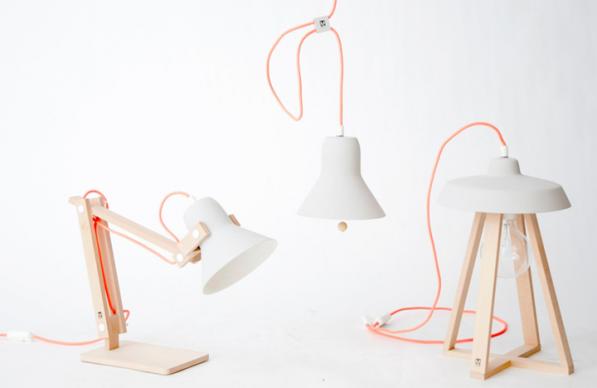Pixoss lampen en een Sputnik tafellamp met fluor snoer van M.OSS Design