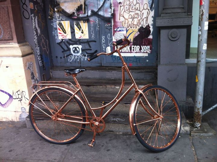 Koperen fiets van Van Heesch Design in New York