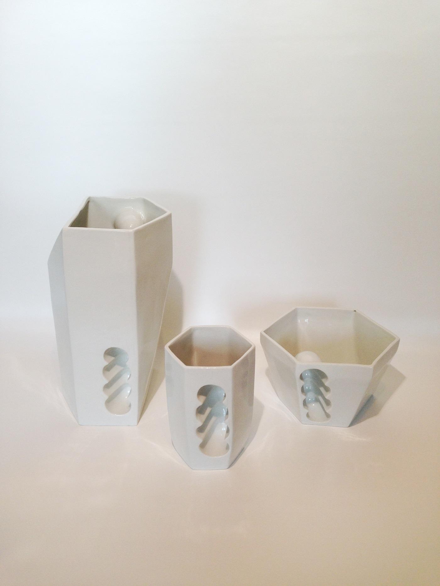 Porselein servies Wanten van Studio Roel Beurskens in wit