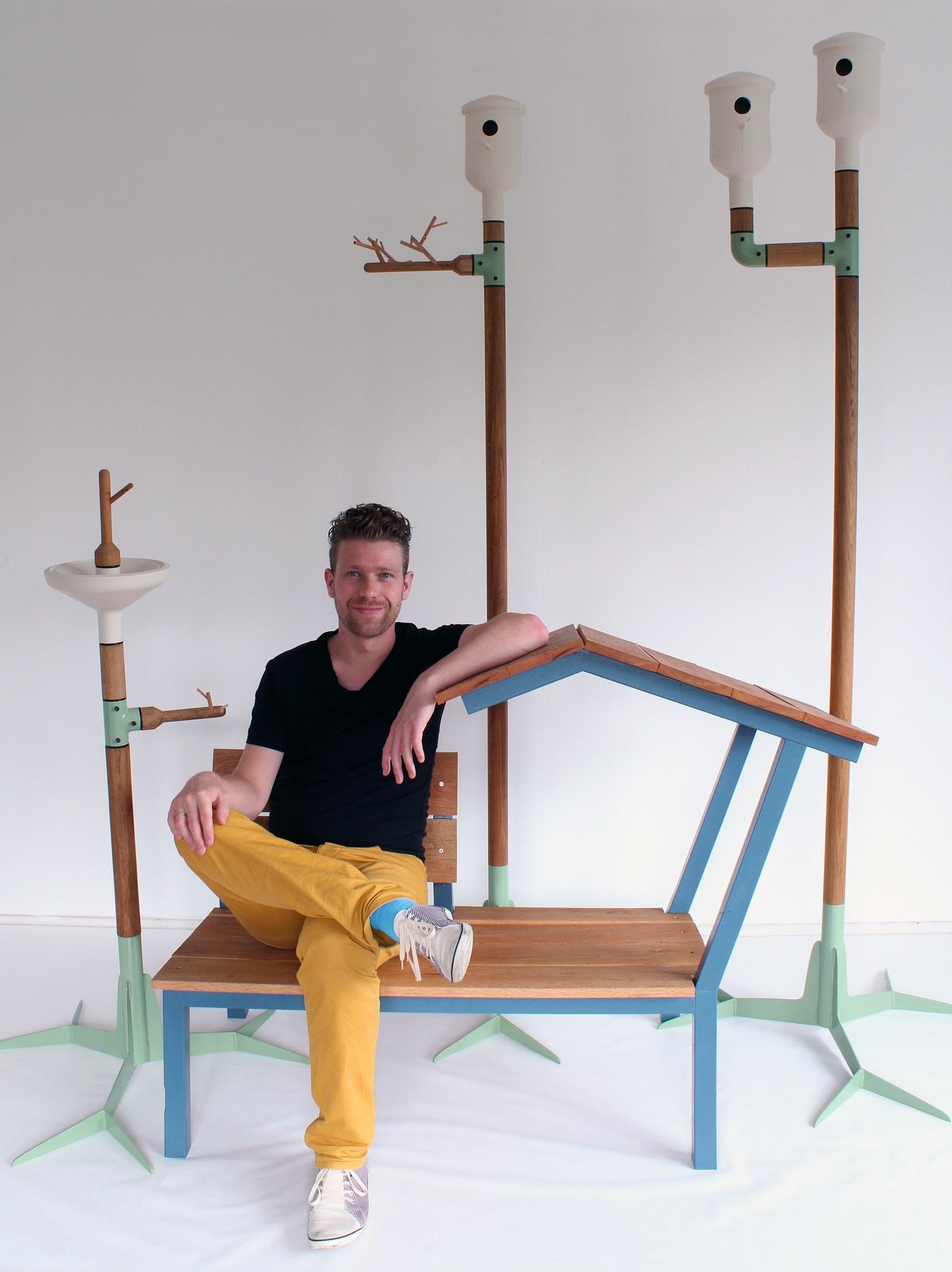 Vincent Bos en zijn Garden Elements o.a. vogelhuisje en drinkbakje in Gimmii Magazine
