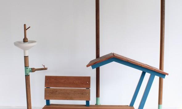 Vogelhuisje en drinkplankje uit Garden Elements serie van Vincent Bos