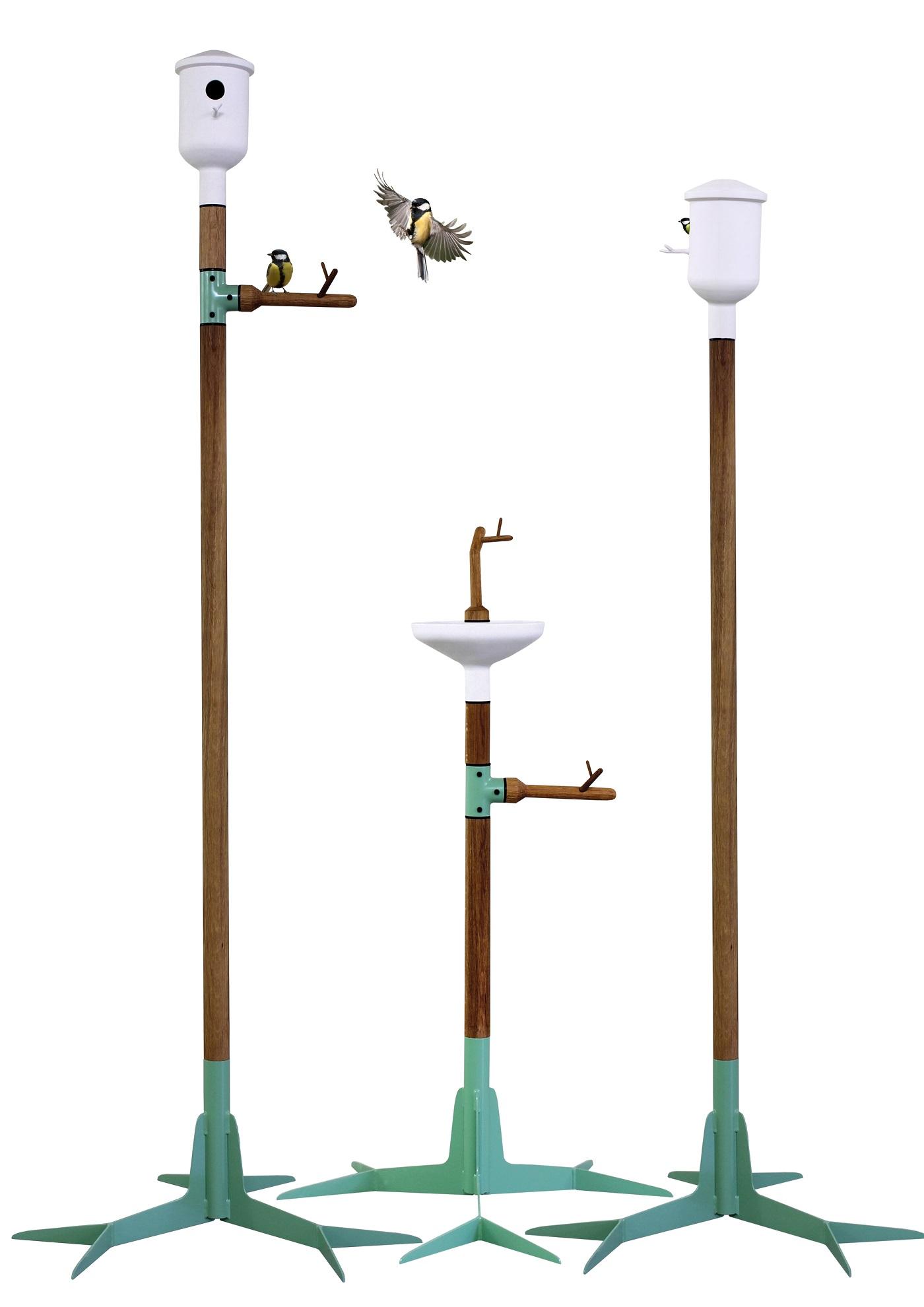 Vogelhuisjes en drinkplankje uit de Garden Elements collectie van Vincent Bos