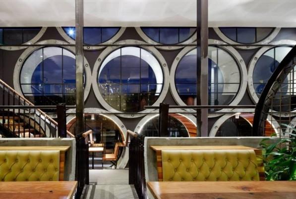 Betonnen duikers interieur Prahan hotel Melbourne