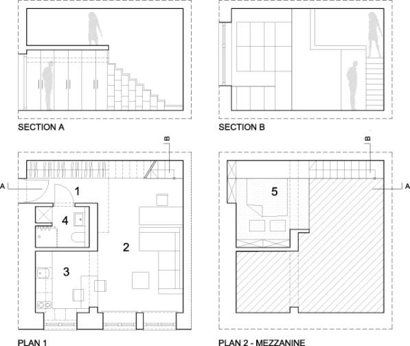 29m2 appartment tekening