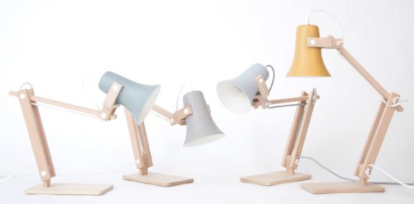 Trumpet lamp blauw grijs lichtblauw en geel -M .OSS design