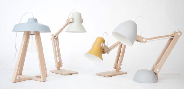 Tafellamp Sputnik blauw - Pixoss groen - Trumpet geel - Helmut grijs