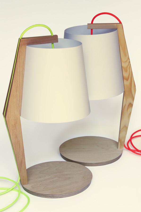 Tafellamp beuken en vuren hout Kuiken Design