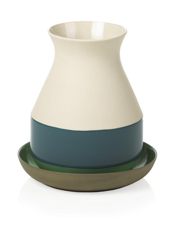 BT vaas Medium blauw-teal en wit met groene schotel