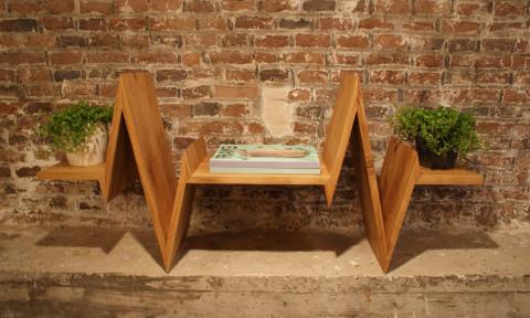 Beat-shelf boekenplank eiken met planten