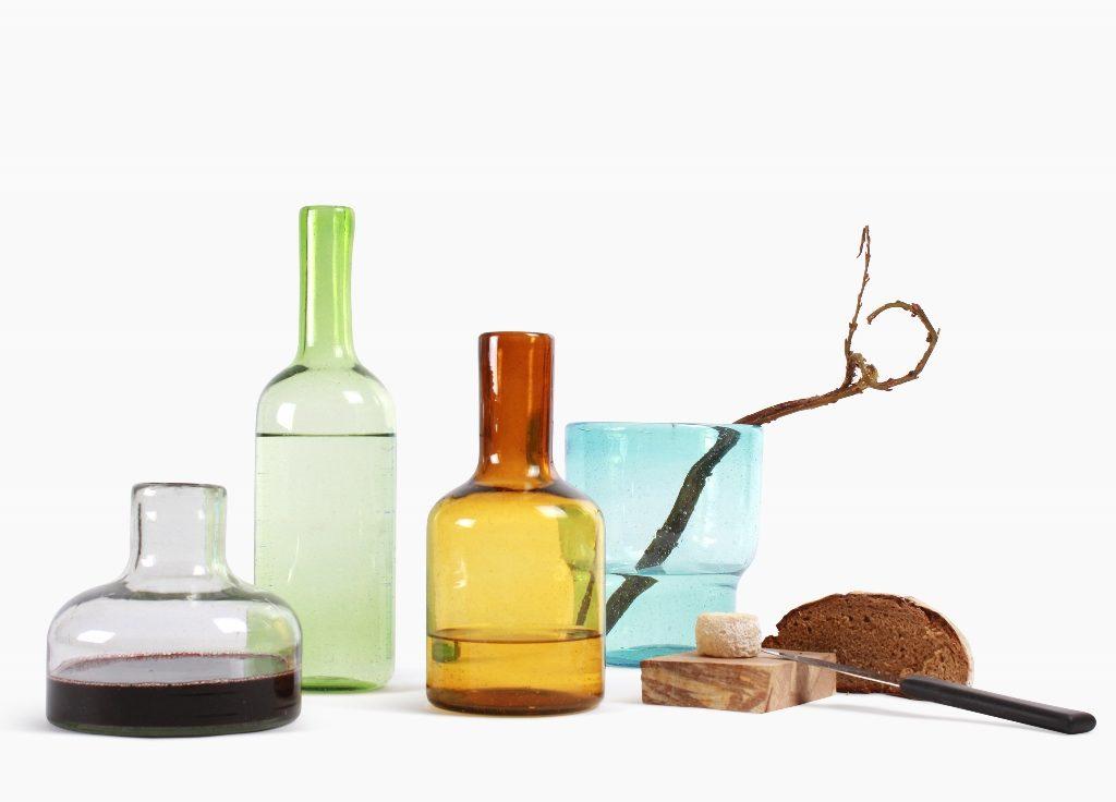 Cantel glaswerk karaf 15 transparant 25 amber en 35 groen  vaas aqua S