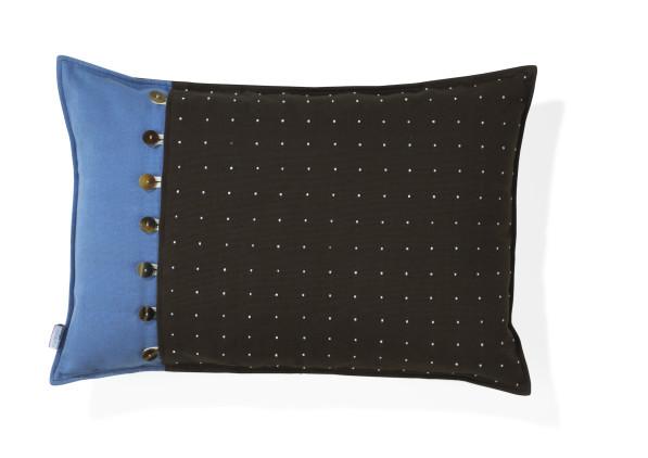 Catu kussen bruin blauw - andere kant grijs met bruine en blauwe strepen
