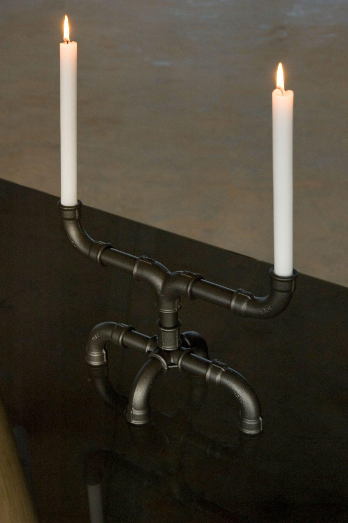 U-tube kandelaar grijs designer Sander Mulder