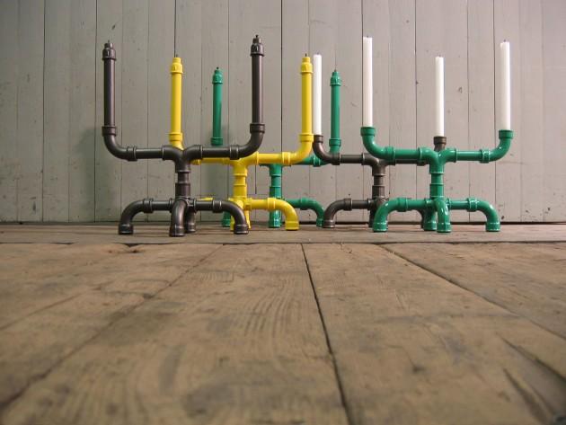 U-tube kandelaars antraciet, groen & geel van designer Sander Mulder