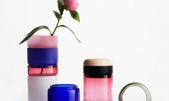 Pino Pino vaas stapelbaar glas kleur van Mija Puoscari