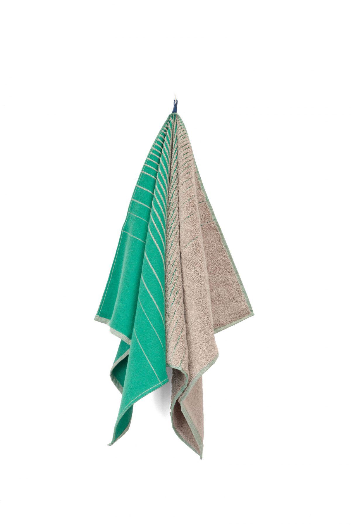 TweeDoek green_beige handdoek én theedoek in één van Vij5