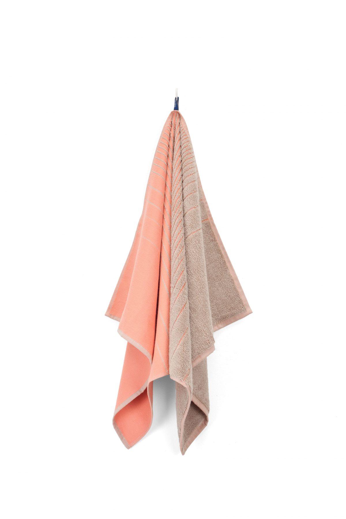 TweeDoek pink-beige theedoek én handdoek van Vij5