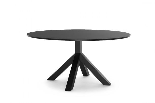 Gispen Dukdalf tafel zwart diamer 152 x 75 cm hoog