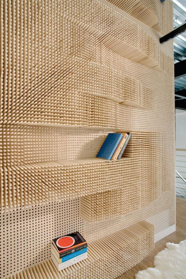 Yellowtrace Peg Wall Bookcase by Elizabeth Whittaker Merge Architects